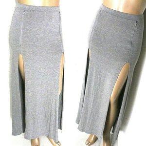 F21 L, Double Thigh High Slit Maxi Skirt